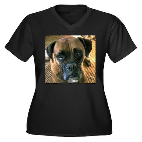 Boxer Women's Plus Size V-Neck Dark T-Shirt
