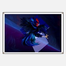 Black Fighting Rooster Banner