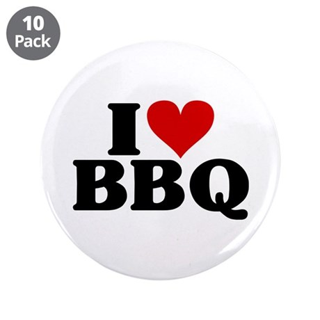 """I Heart BBQ 3.5"""" Button (10 pack)"""