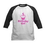 5 Cupcake Birthday Girl Kids Baseball Jersey