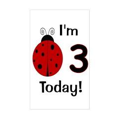 Ladybug I'm 3 Today! Sticker (Rectangle)