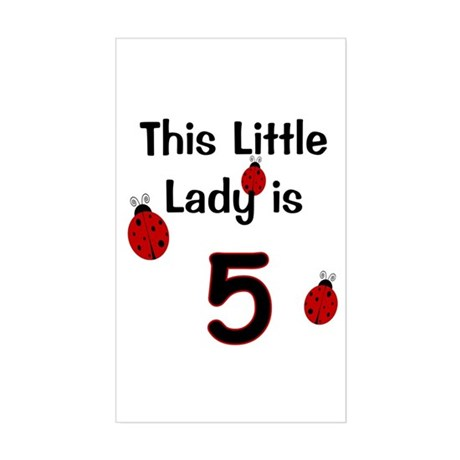 Little Lady Is 5! Sticker (Rectangle)