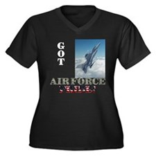 USAF Pride?? Women's Plus Size V-Neck Dark T-Shirt