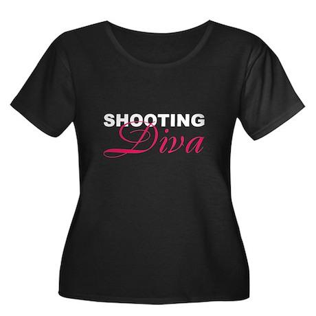 Shooting Diva Women's Plus Size Scoop Neck Dark T-