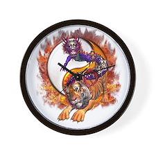 Dragon Tiger Yin Yang Wall Clock
