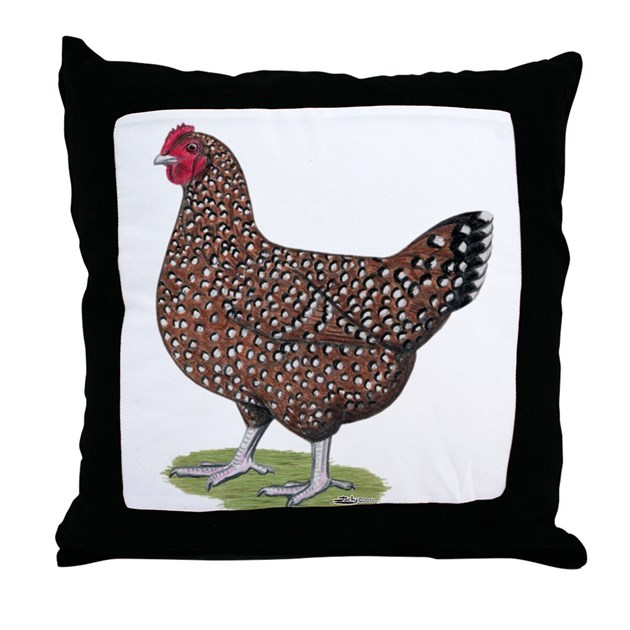 Speckled Sussex Hen Throw Pillow By Jackynet