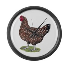 Speckled Sussex Hen Large Wall Clock