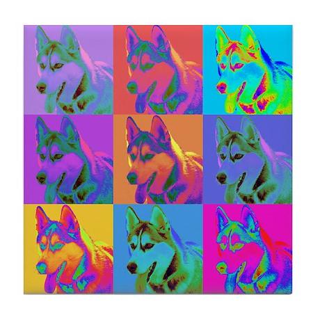 Op Art Siberian Husky Tile Coaster