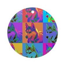 Op Art Siberian Husky Ornament (Round)
