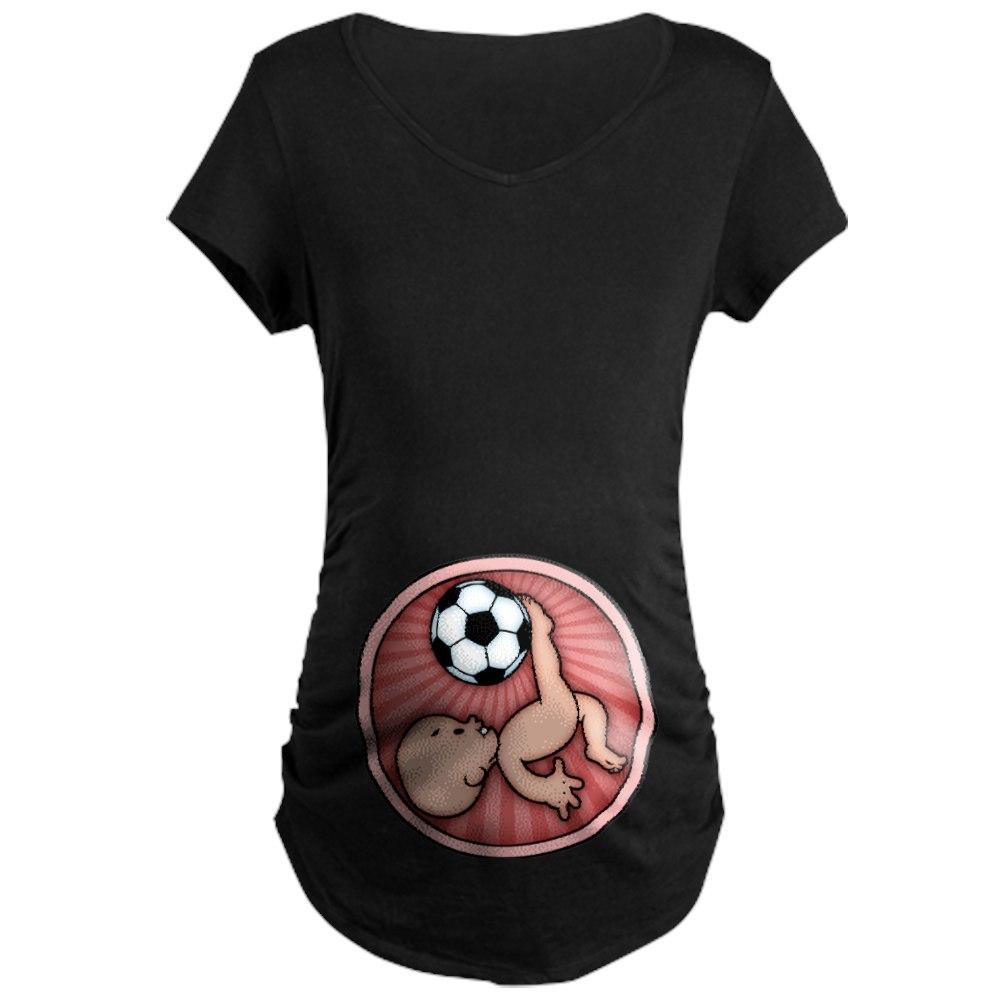 CafePress Soccer Baby Kick Maternity Dark T-Shirt