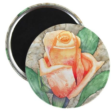 Peach Rose Watercolor Magnet