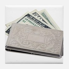 Silver Money Holder Tile Coaster