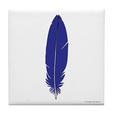 Blue Feather Tile Coaster
