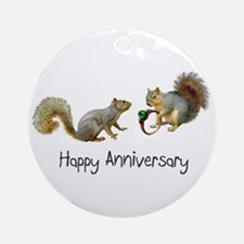 Happy Anniversary Squirrels Ornament (Round)