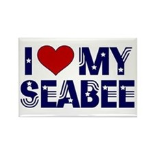 I love (heart) my Seabee Rectangle Magnet