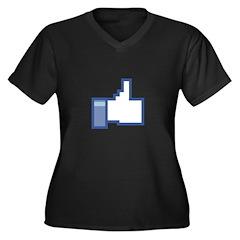 Like Women's Plus Size V-Neck Dark T-Shirt