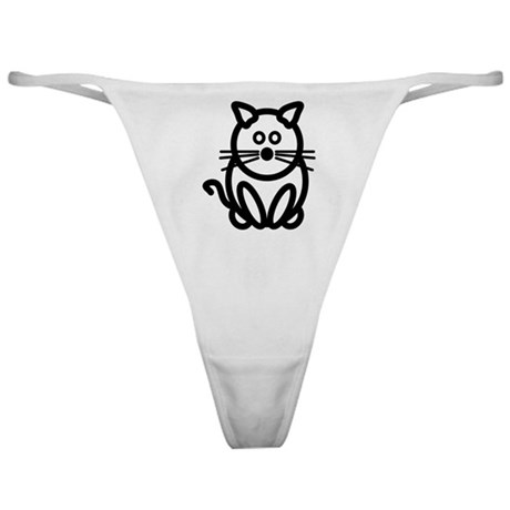 Just The Cat Front and Back Classic Thong
