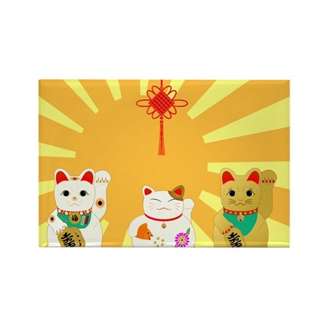 Lucky Cats Rectangle Magnet (100 pack)