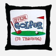 Boy Golfer In Training Throw Pillow