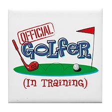 Boy Golfer In Training Tile Coaster