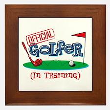 Boy Golfer In Training Framed Tile