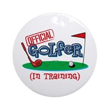 Boy Golfer In Training Ornament (Round)