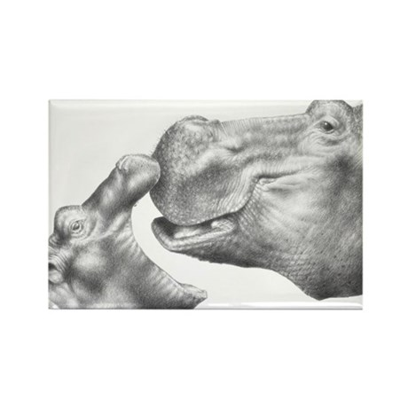 Hippo and Baby Rectangle Magnet