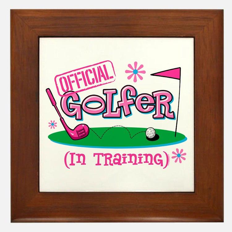Girl Golfer In Training Framed Tile