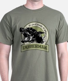 Doberman army green T-Shirt