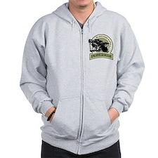 Doberman army green Zip Hoodie