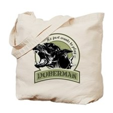Doberman army green Tote Bag
