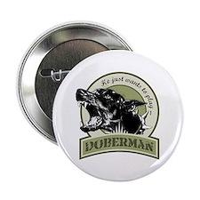 """Doberman army green 2.25"""" Button"""