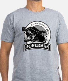 Doberman black/white T