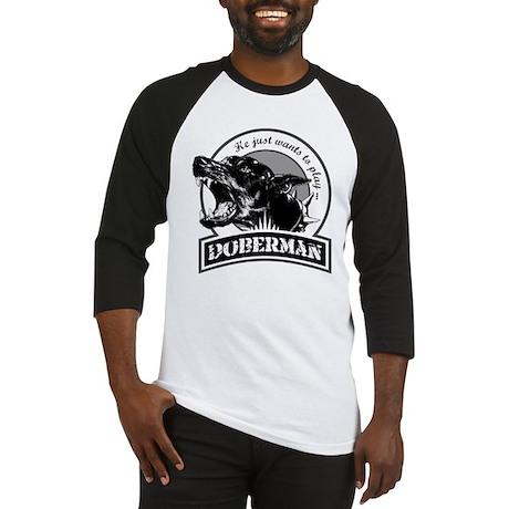 Doberman black/white Baseball Jersey