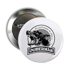 """Doberman black/white 2.25"""" Button"""
