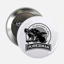 "Doberman black/white 2.25"" Button"