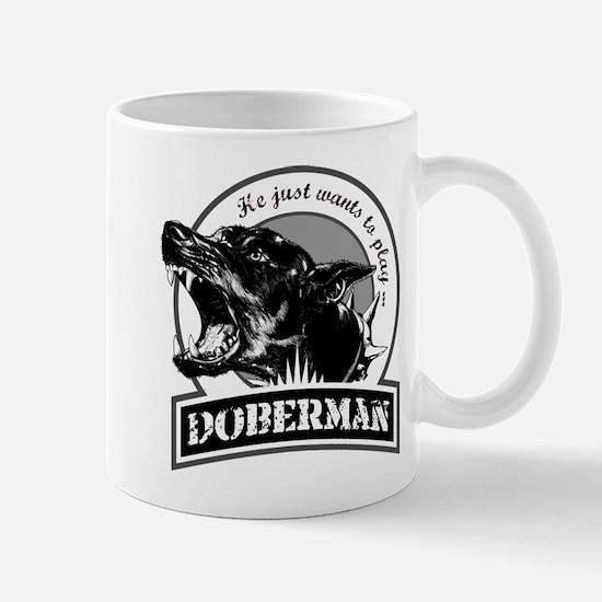 Doberman black/white Mug