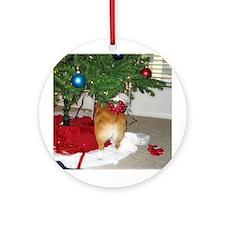 Funny Christmas Corgi Ornament (Round)