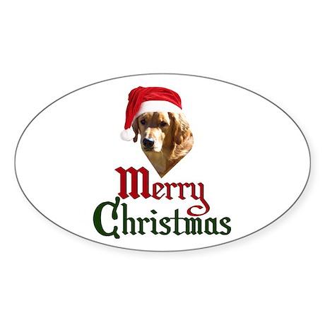 Christmas Golden Retriever Sticker (Oval)