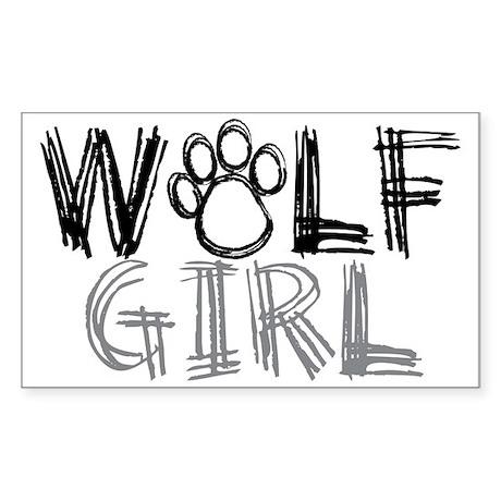 Wolf Girl Sticker (Rectangle)