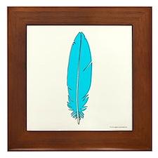 Blue Feather Framed Tile
