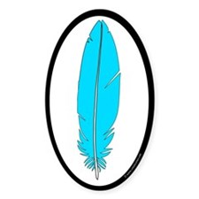 Blue Feather Sticker (Oval 50 pk)