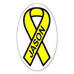 JASON - Yellow Ribbon Oval Decal