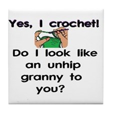Crochet is hip! Tile Coaster