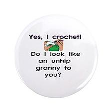 "Crochet is hip! 3.5"" Button (100 pack)"
