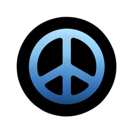 "Peace Sign (blue) 3.5"" Button"
