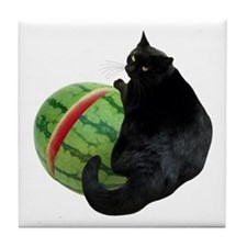 Cat with Watermelon Tile Coaster