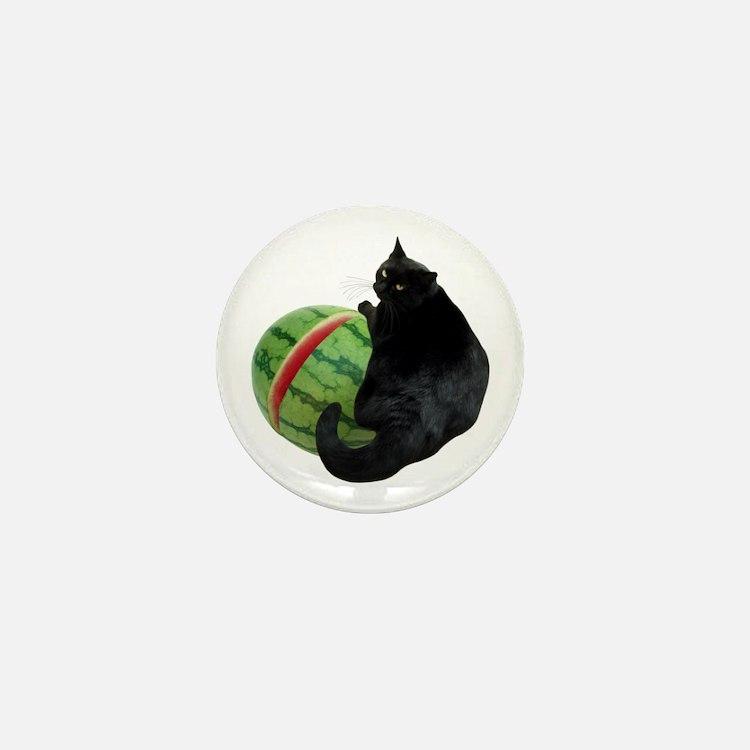 Cat with Watermelon Mini Button
