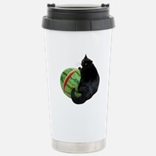 Cat with Watermelon Stainless Steel Travel Mug