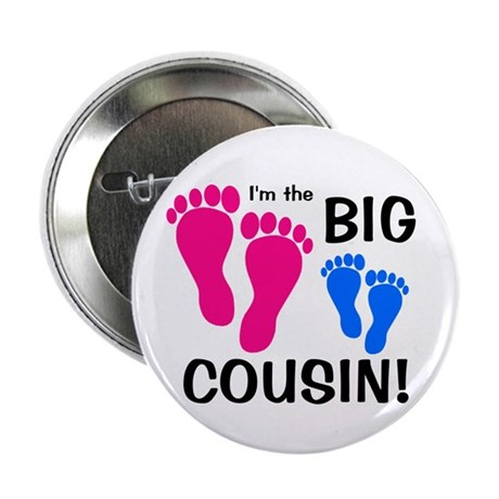 "Big Cousin Baby Footprints 2.25"" Button"